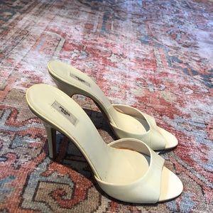Prada buttercream heeled sandals size 38